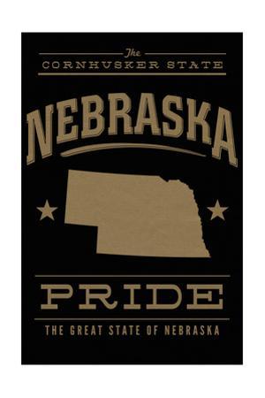 Nebraska State Pride - Gold on Black by Lantern Press