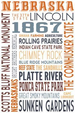 Nebraska - Typography by Lantern Press