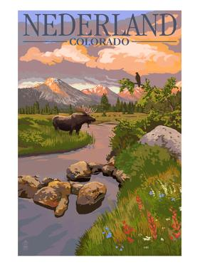 Nederland, Colorado - Moose and Sunset by Lantern Press