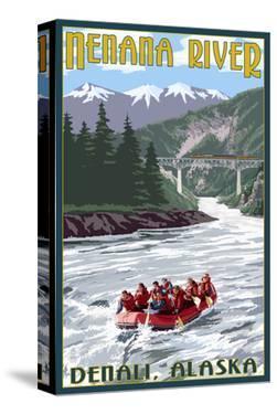 Nenana River, Alaska - River Rafters and Railroad by Lantern Press