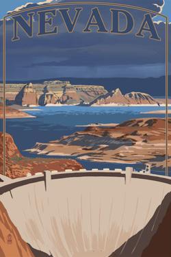 Nevada - Lake and Dam by Lantern Press