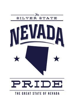 Nevada State Pride - Blue on White by Lantern Press