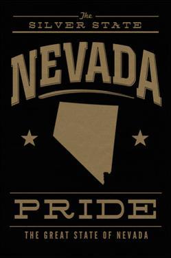 Nevada State Pride - Gold on Black by Lantern Press