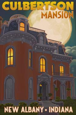 New Albany, Indiana - Culbertson Mansion and Moon by Lantern Press