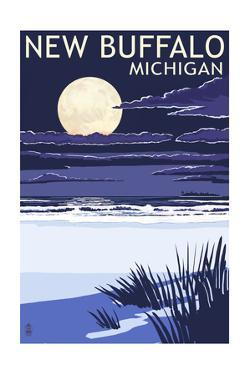 New Buffalo, Michigan - Full Moon Night Scene by Lantern Press