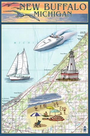 New Buffalo, Michigan - Nautical Chart by Lantern Press