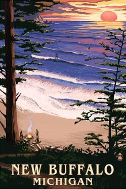 New Buffalo, Michigan - Sunset on Beach by Lantern Press