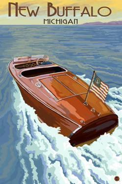 New Buffalo, Michigan - Wooden Boat by Lantern Press