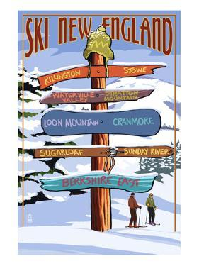 New England - Ski Areas Sign Destinations by Lantern Press