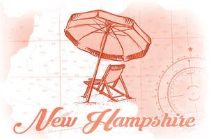 New Hampshire - Beach Chair and Umbrella - Coral - Coastal Icon by Lantern Press