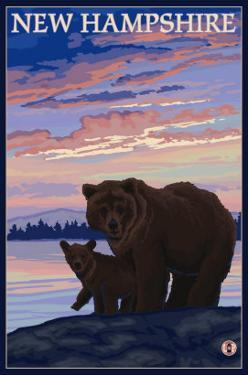New Hampshire - Bear and Cub by Lantern Press
