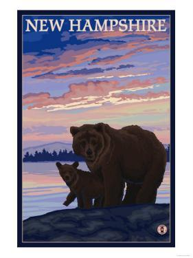 New Hampshire - Bear and Cub by Lantern Press