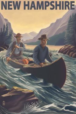 New Hampshire - Canoe on Rapids by Lantern Press