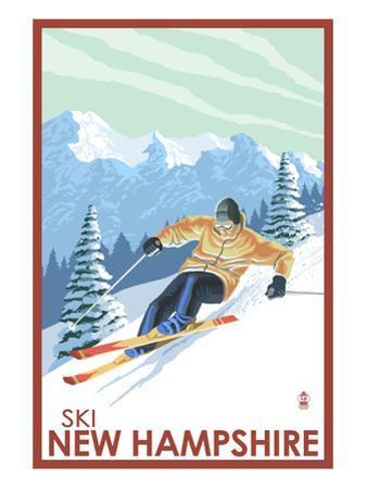 New Hampshire - Downhill Skier by Lantern Press