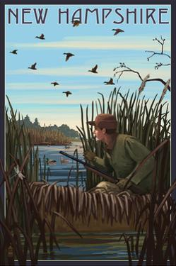 New Hampshire - Hunter and Lake by Lantern Press