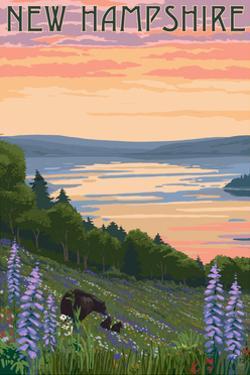 New Hampshire - Lake and Bear Family by Lantern Press