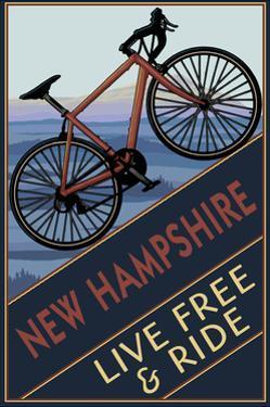 New Hampshire - Live Free and Ride - Mountain Bike by Lantern Press
