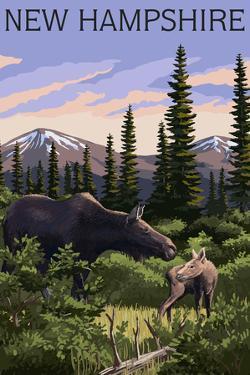 New Hampshire - Moose and Calf by Lantern Press