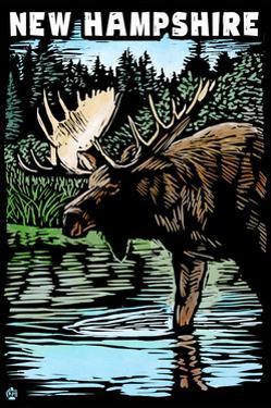 New Hampshire - Moose - Scratchboard by Lantern Press