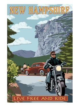 New Hampshire - Motorcycle Scene and Old Man of the Mountain by Lantern Press