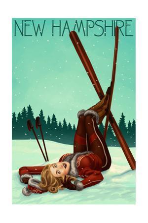 New Hampshire - Pinup Skier by Lantern Press