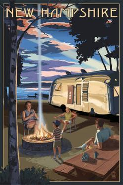 New Hampshire - Retro Camper and Lake by Lantern Press
