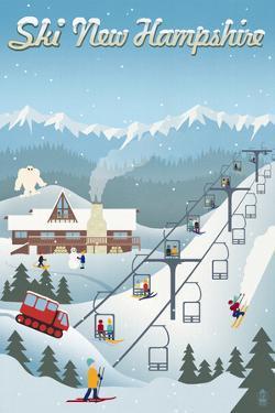 New Hampshire - Retro Ski Resort by Lantern Press