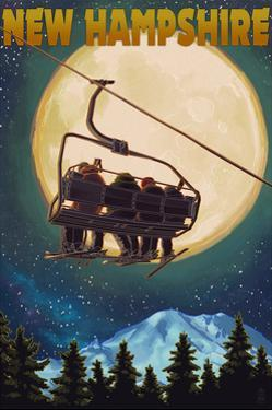 New Hampshire - Ski Lift and Full Moon by Lantern Press