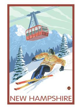 New Hampshire - Skier and Tram by Lantern Press