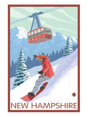 New Hampshire - Snowboarder and Tram by Lantern Press