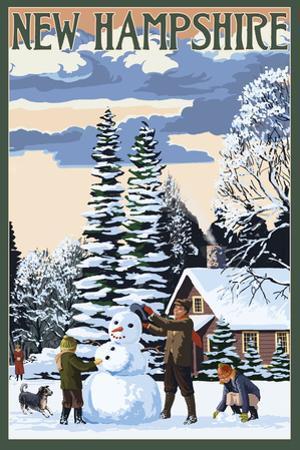 New Hampshire - Snowman Scene by Lantern Press