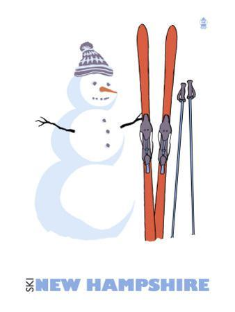 New Hampshire, Snowman with Skis by Lantern Press