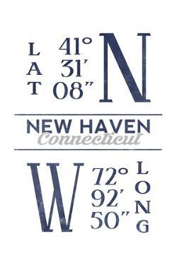 New Haven, Connecticut - Latitude and Longitude (Blue) by Lantern Press