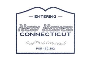 New Haven, Connecticut - Now Entering (Blue) by Lantern Press