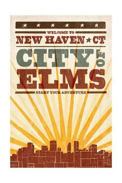 New Haven, Connecticut - Skyline and Sunburst Screenprint Style by Lantern Press