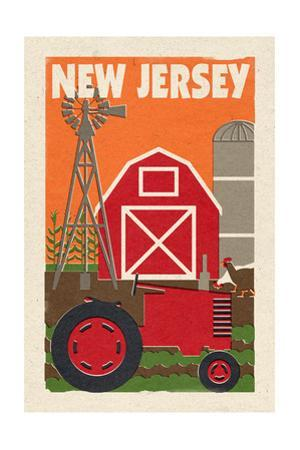 New Jersey - Country - Woodblock