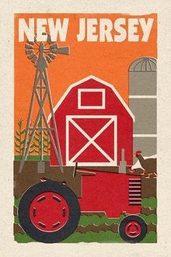 New Jersey - Country - Woodblock by Lantern Press