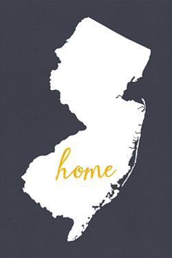 New Jersey - Home State - White on Gray by Lantern Press