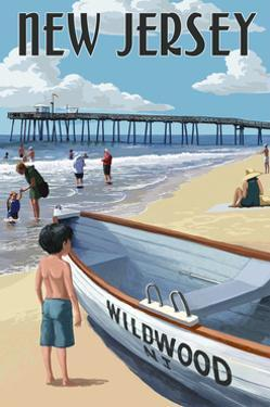 New Jersey - Lifeboat and Pier by Lantern Press