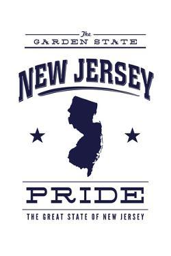New Jersey State Pride - Blue on White by Lantern Press
