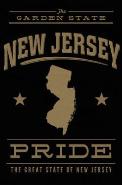 New Jersey State Pride - Gold on Black by Lantern Press