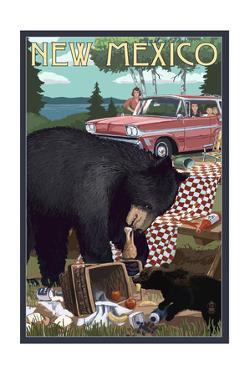 New Mexico - Bear and Picnic Scene by Lantern Press