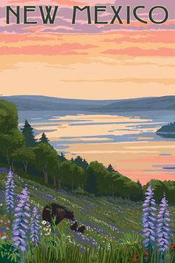 New Mexico - Lake and Bear Family by Lantern Press