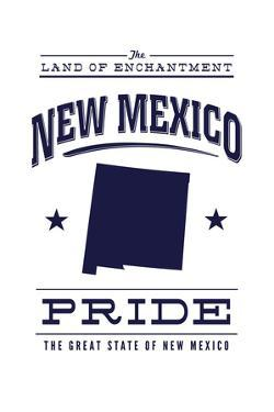 New Mexico State Pride - Blue on White by Lantern Press