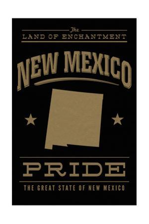 New Mexico State Pride - Gold on Black by Lantern Press