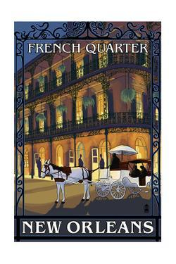 New Orleans, Louisiana - French Quarter at Night - Lantern Press Original Poster by Lantern Press