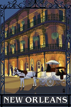 New Orleans, Louisiana, French Quarter Scene by Lantern Press