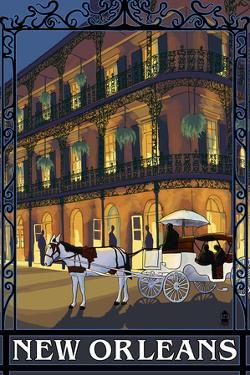 New Orleans, Louisiana, French Quarter Scene by Lantern Press