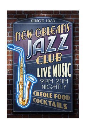 New Orleans, Louisiana - Jazz Club by Lantern Press