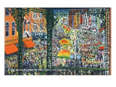 New Orleans, Louisiana - Mardi Gras Parade; Rex Greets Subjects